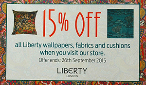 15% off all Liberty interiors wallpaper, fabric and cushions until 26 September 2015