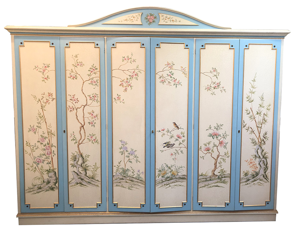 Hand-painted Chinoisseries style wardrobe and bedroom suite at E & A Wates