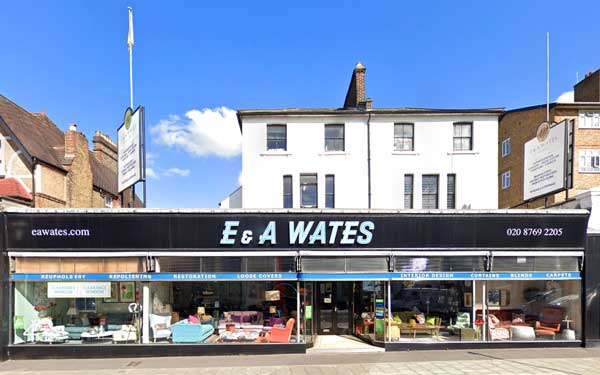 E & A Wates shop front at 82 - 84 Mitcham Lane, London SW16 6NT in 2020