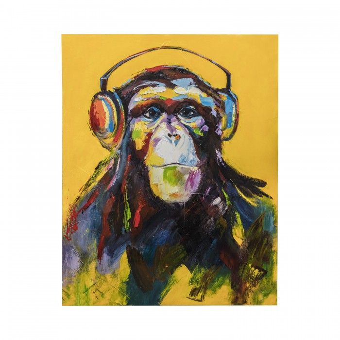 Colourful canvas print of ape wearing headphones from E & A Wates