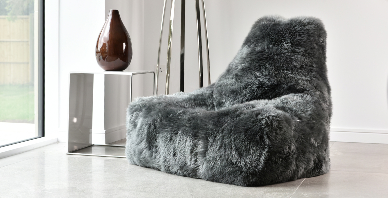 Faux fur and shepskin bean bags for indoor and outdoor use at E & A Wates, London.