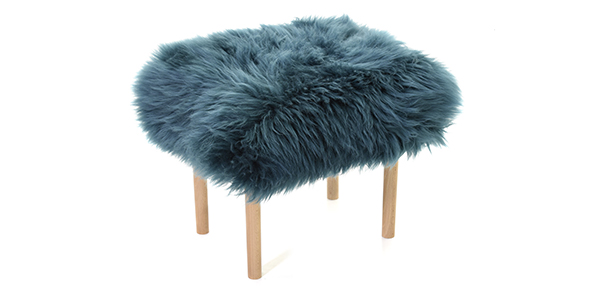 Baa Stool foot stool in teal sheepskin at E & A Wates for Mother's Day, gifts for him and for her..