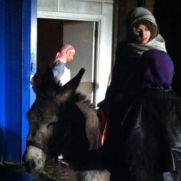 Mary, Joseph and donkey at the carpenter's workshop, E & A Wates 2015