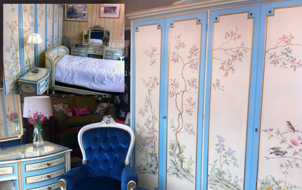 E & A Wates hand-painted French style bedroom suite