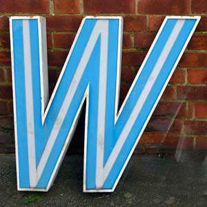 200. Capital letter W Shop Sign letter at E & A Wates