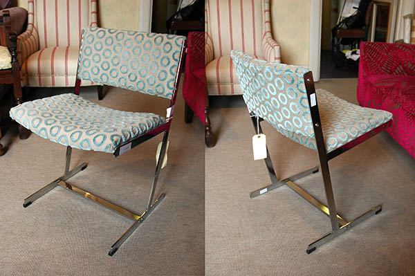 Japanned bergere, reupholstered in Zoffany & Sanderson fabric by E & A Wates