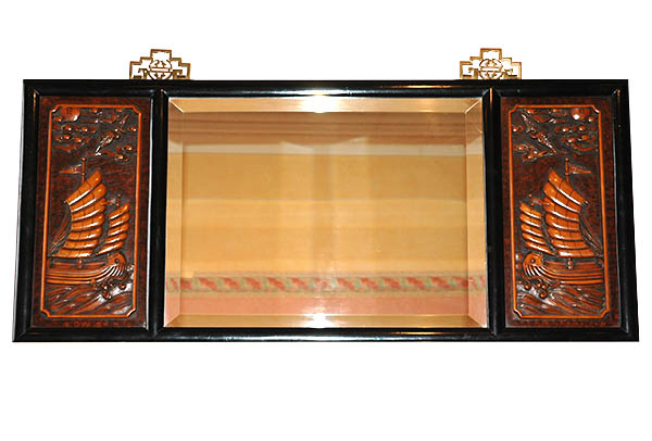 Deco style hand carved wooden mirror from Hong Kong at E & A Wates.