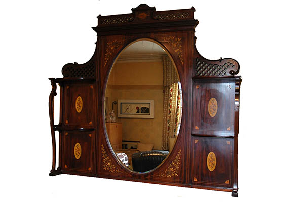 Edwardian Overmantle wooden decorative frame with oval bevelled mirror