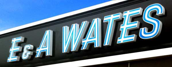 E & A Wates shop sign on Mitcham Lane, London SW16.