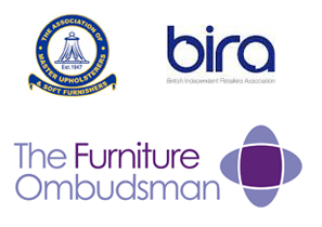 commercial logos for The Assoc of Master Upholsterers, BIRA and The Furniture Ombudsman